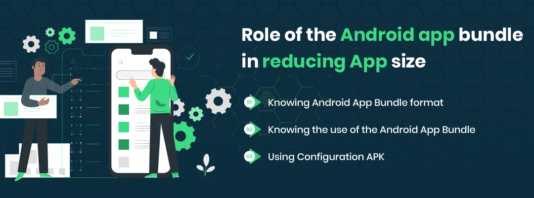 What role does the Android app bundle play in reducing size?